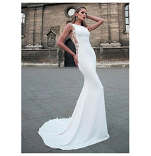 LORIE Wedding Dresses 2019 Mermaid Style Soft Satin Appliques Lace Beach Bride Dress Sexy Gown