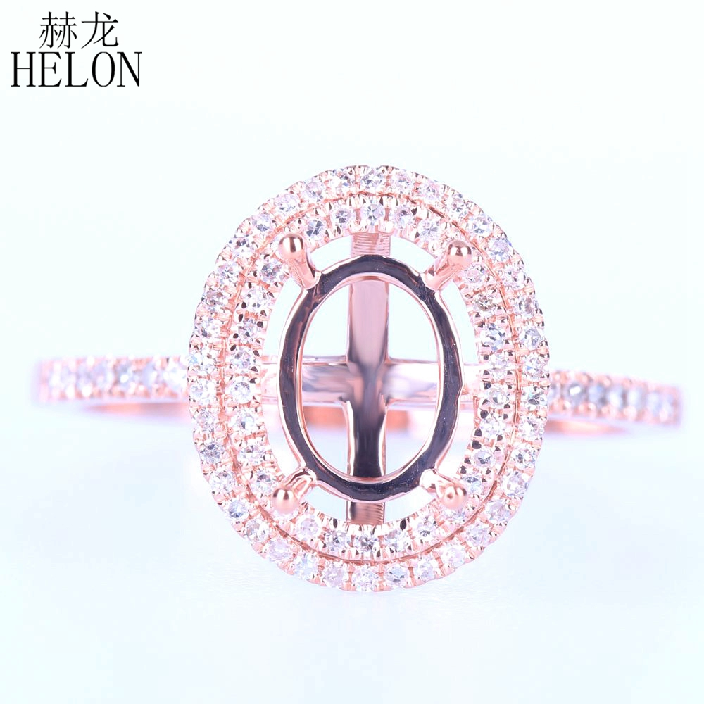 HELON Solid 14K Rose Gold Oval cut 8x6mm Semi-Mount Engagement Ring Pave 0.3ct Natural Diamond Wedding Ring Women Trendy Jewelry real carbon fiber unpainted frp car front body air side fins diffuser for subaru brz toyota gt86 ft86 zn6 dosn t fit 2017y car