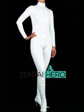ZentaiHero NEW Sexy Women's White PVC Zentai Catsuit Front Zipper Bodysuit Fancy Dress Zentai Suit For Halloween Party AXM43