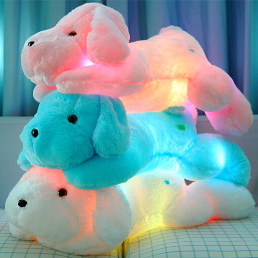 New Year 40CM Length Creative Night Light LED Lovely Dog Stuffed and Plush Toys Best Gifts for Kids and Friends NO MUSIC fancytrader new style giant plush stuffed kids toys lovely rubber duck 39 100cm yellow rubber duck free shipping ft90122