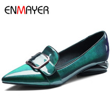 ENMAYER Low Heels Pumps Shoes Woman Patent Leather Office Ladies Shoes Buckle Strap Plus Size 34-42 Pointed Toe Slip-on Pumps venchale shallow slip on convenient 2018 new arrival high heels pointed toe woman plus size shoes genuine leather woman pumps