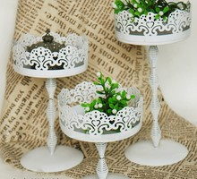 2016 New arrived Lace cake plate/cake stand/fruit pan S+M+L 3 pieces/lot