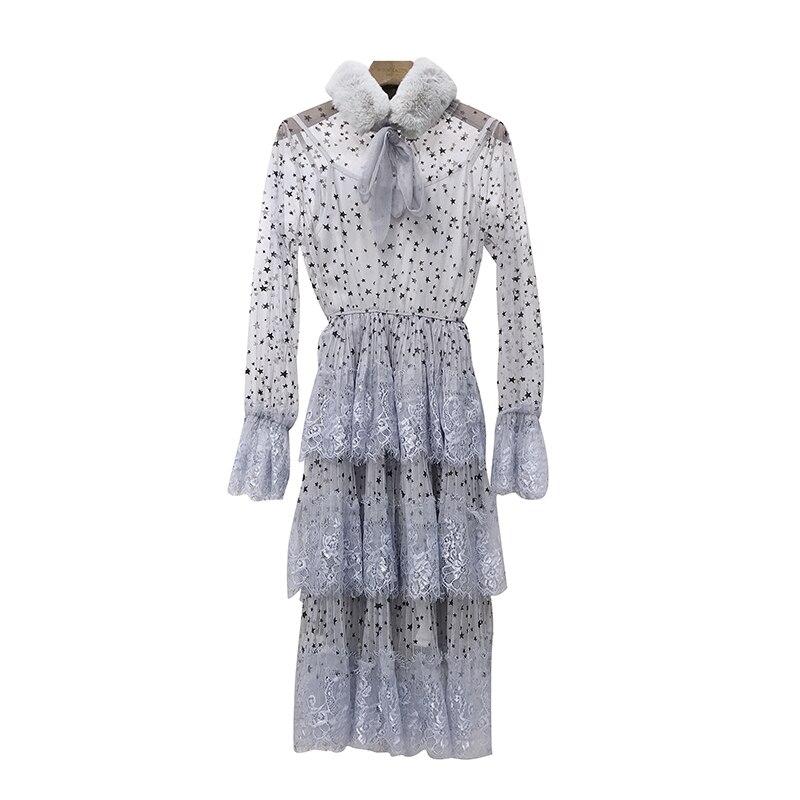 ALPHALMODA 2019 Spring Fur Collar Sweet Bow Stars Print Long-sleeved Multi-layer Women Princess Chiffon Dress + Sling 2pcs Set 6