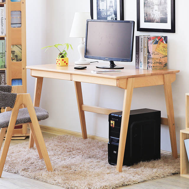 US $503.86 20% OFF|Japanese simple solid beech wood computer desk 1 m/1.2 m  log color office desk modern computer table on AliExpress - 11.11_Double ...