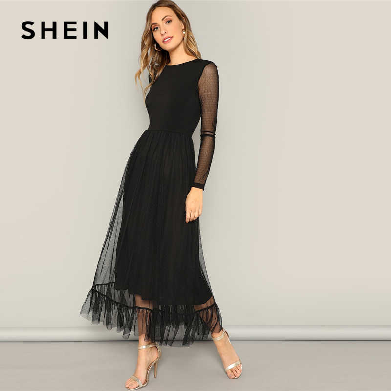 SHEIN Fit And Flare Mesh Overlay Ruffle Hem Dress Women Casual 2019 Summer Round Neck Long Sleeve High Waist Dresses