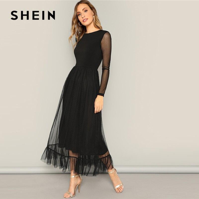 SHEIN/черное платье с оборками и расклешенной сеткой, повседневное женское платье 2019 года, летнее платье с круглым вырезом и длинным рукавом с ...