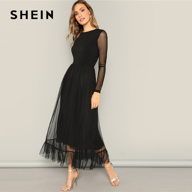 SHEIN Black Fit and Flare Mesh Overlay Ruffle Hem Dress Women Casual 2019 Summer Round Neck Long Sleeve High Waist Dresses