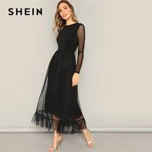 SHEIN Fit Ve Flare Örgü Yerleşimi Fırfır Etek Elbise Kadın Rahat 2019 Yaz Yuvarlak Boyun Uzun Kollu Yüksek Bel Elbiseler