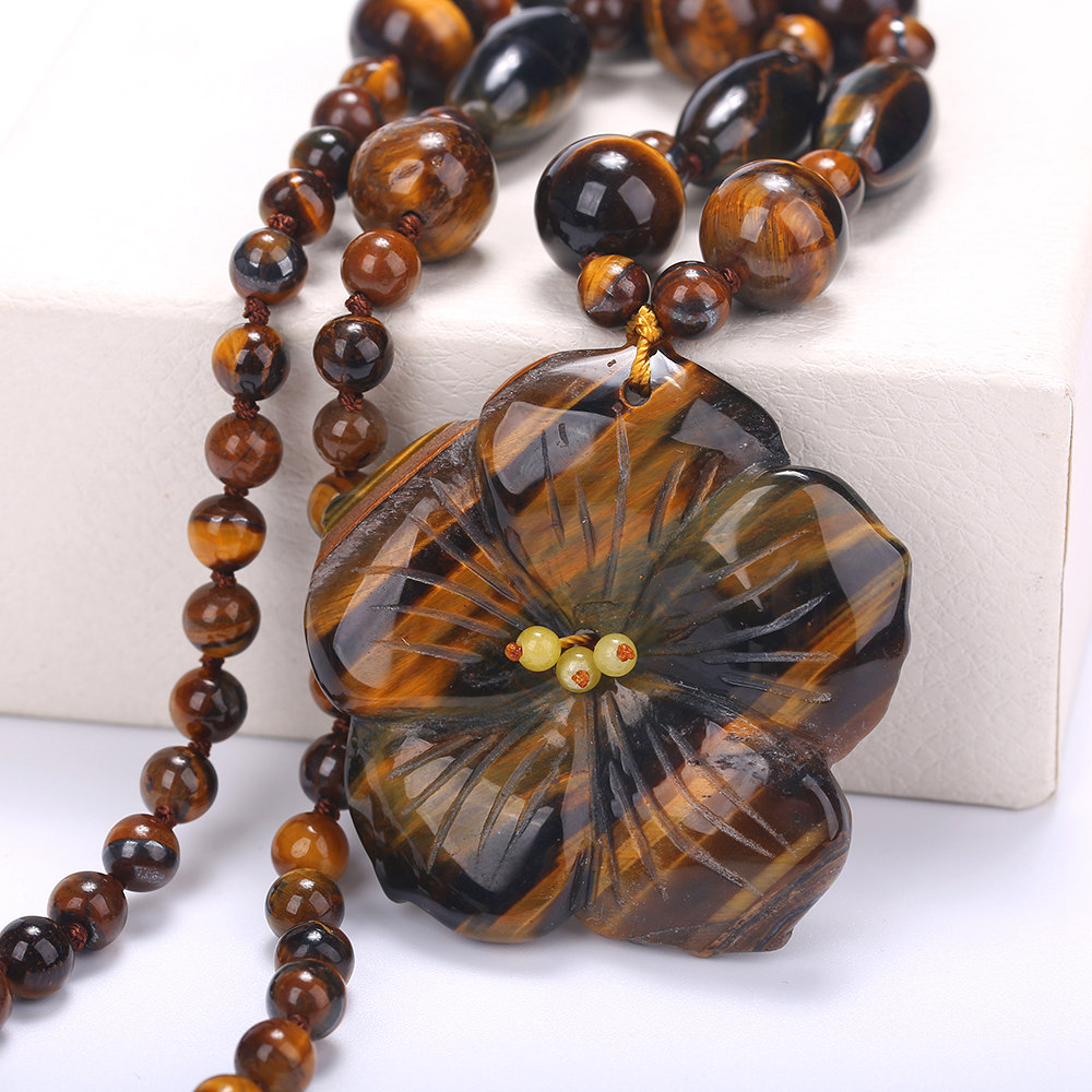 Stone Natural Necklace Hot Beads Statement Short Necklaces & Pendants Women Agate Amber Jewelry Collares 48Cm Tiger Eye Stone