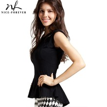 Nice-forever Casual Black T-shirts Women summer Sleeveless Asymmetric Irregular Peplum Bodycon Tank Stylish Tees tops T014