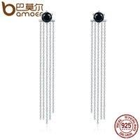 BAMOER Vintage 925 Sterling Silver Double Sided Black CZ Tassel Ears Jacket Dangle Drop Earrings Femme