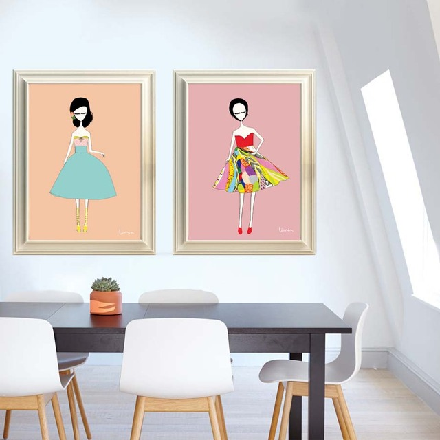 Fashion Girl Modern Watercolor Painting Canvas Wall Art Print ...