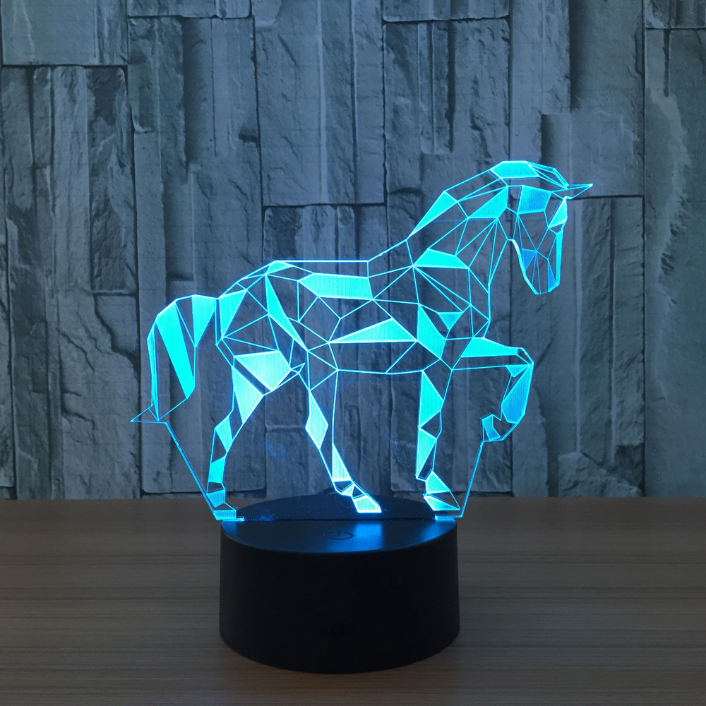 7 Color Zebra Horse Lamp 3d Visual Led Night Lights For Kids Touch Usb Table Lampara Lampe Baby Sleeping Nightlight Star Light title=