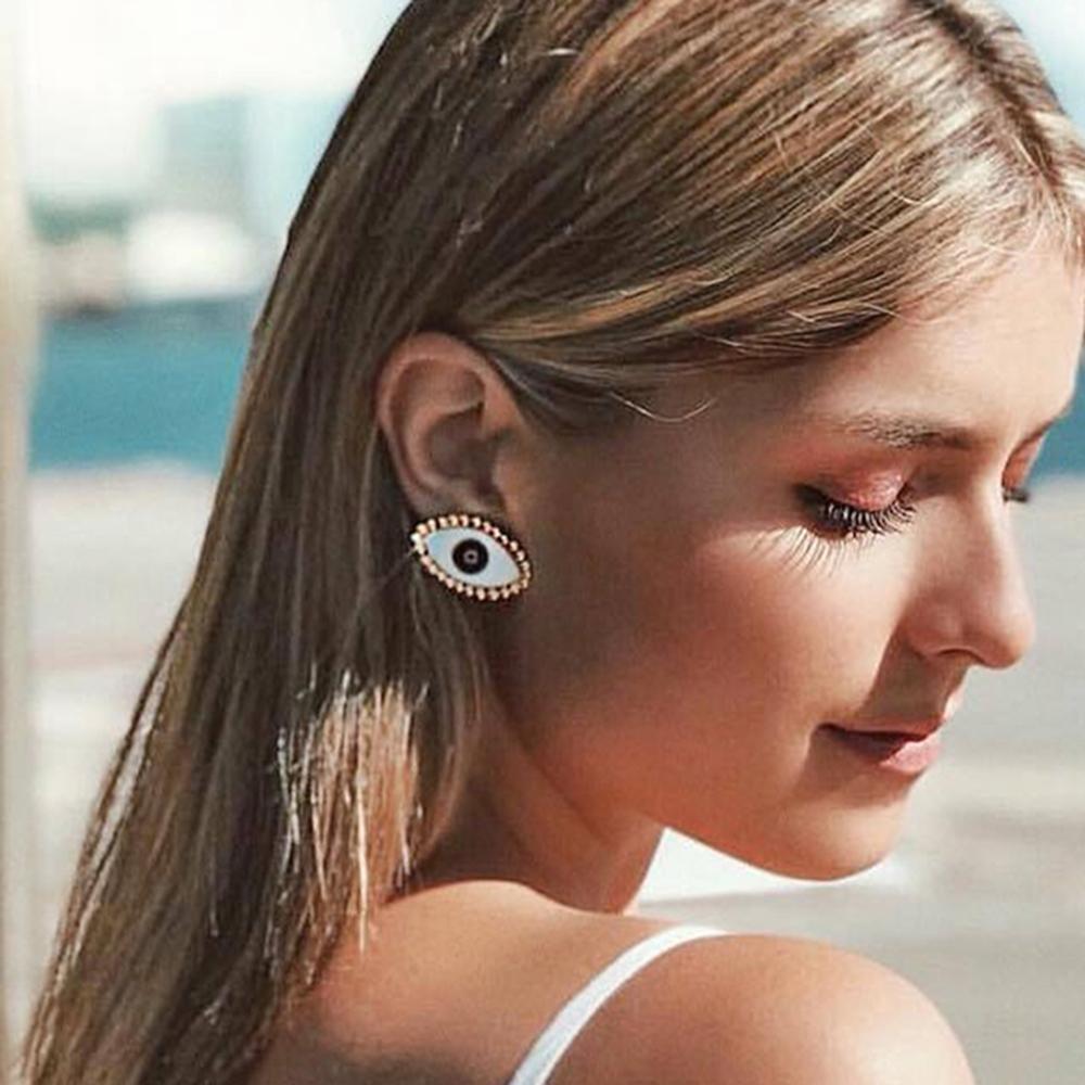 2019 New Latest Fashion Minimalist Black Circle Evil Eye Stud Earrings For Women Vintage Big Statement Earring Jewelry