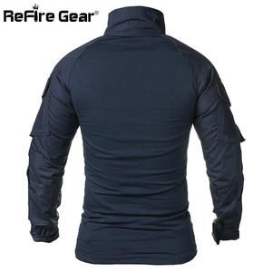 Image 3 - ReFire GearกองทัพCombat Tเสื้อผู้ชายแขนยาวยุทธวิธีเสื้อยืดผ้าฝ้ายทหารเสื้อMan Navy Blue Hunt Airsoft Tเสื้อ