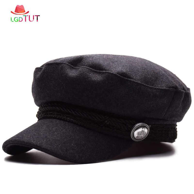 مثمنة كاب قبعة أزياء دافئ شقة أعلى الشتاء قبعة عارضة إمرأة القبعات امرأة العسكرية كاب إمرأة العسكرية القبعات