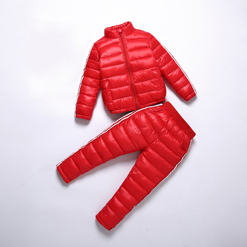 Girls Clothing Set Warm Winter 2017 Boys Sports Suit Kids Tracksuit Down jackets + Pants Cotton Ski Sets Baby Boys Clothes IY188 2pcs set kids clothes down jacket rompers sport ski suit girls boys clothes toddler baby tracksuit winter children clothing