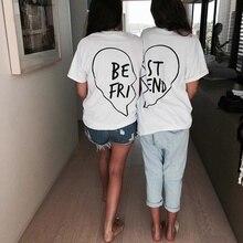 New Women Tops Letter Best Friends T Shirts Short Sleeve Loose Tee Shirt Plus Size Cotton T-shirt