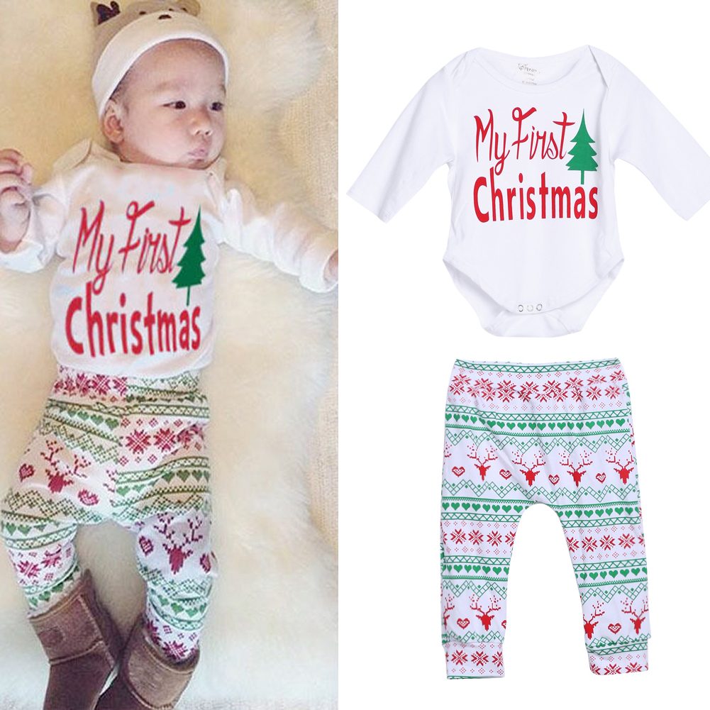 4pcs Baby Christmas Outfit Cotton Boy Girl Long Sheeve Romper Pants ...