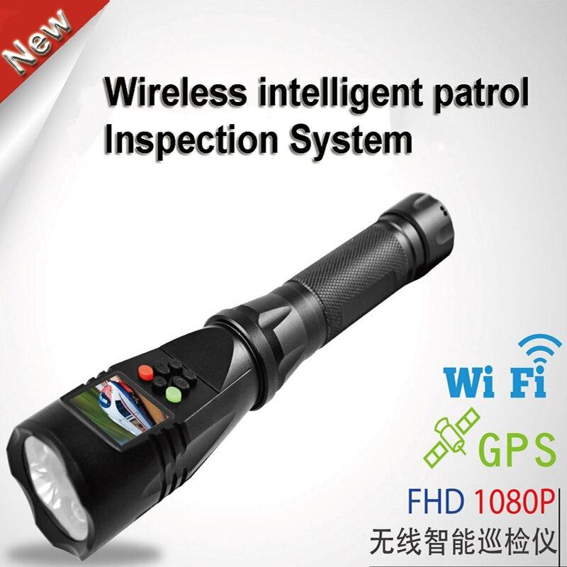 Système d'inspection de patrouille intelligente sans fil avec suivi WIFI et GPS et enregistrement de caméra vidéo 1080 P et lampe de poche blanche/rouge/verte