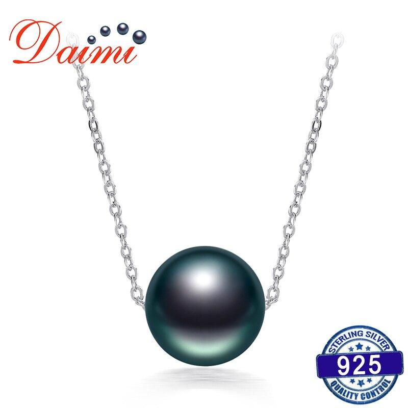 DAIMI En Venta 10-11mm Negro Collar de Perlas de Tahití 925 Collar de Cadena de Plata Perla Individual Collar Colgante de Joyería Fina