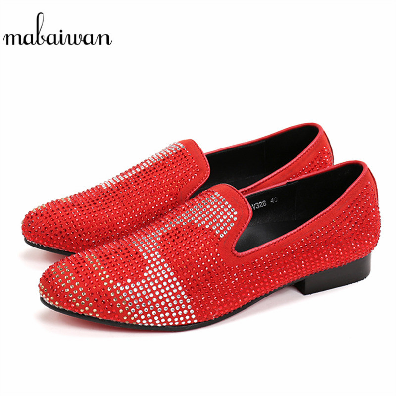 Mabaiwan Fashion Strass Men Shoes Luxury Loafers Red Suede Crystal Rhinestones Slippers Party Wedding Dress Shoes Men's Flats resin rhinestones flatback stone shape crystal ab color sew on rhinestone for wedding dress fashion crystal strass for clothes
