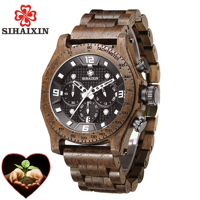 Wood Men Watches 2018 Luxury Brand Designer Military Waterproof Quartz Sport Watch Stainless Steel Case Male Clock Dropshipping