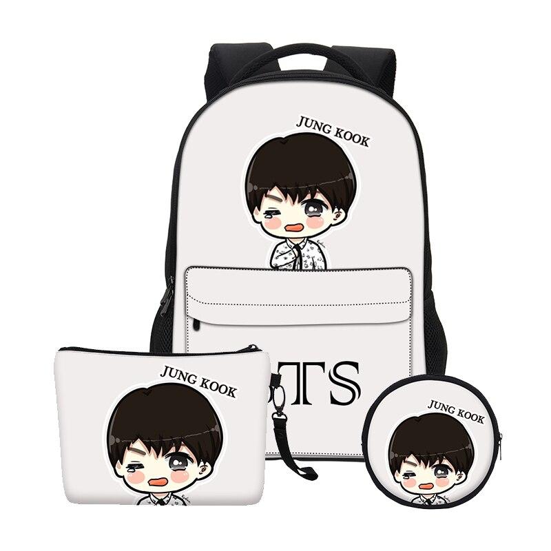 VEEVANV Fashion Gils Bookbag School Bags Set Women BTS Cartoon Organizer Printing Notebook Children Backpacks Boys Shoulder Bags