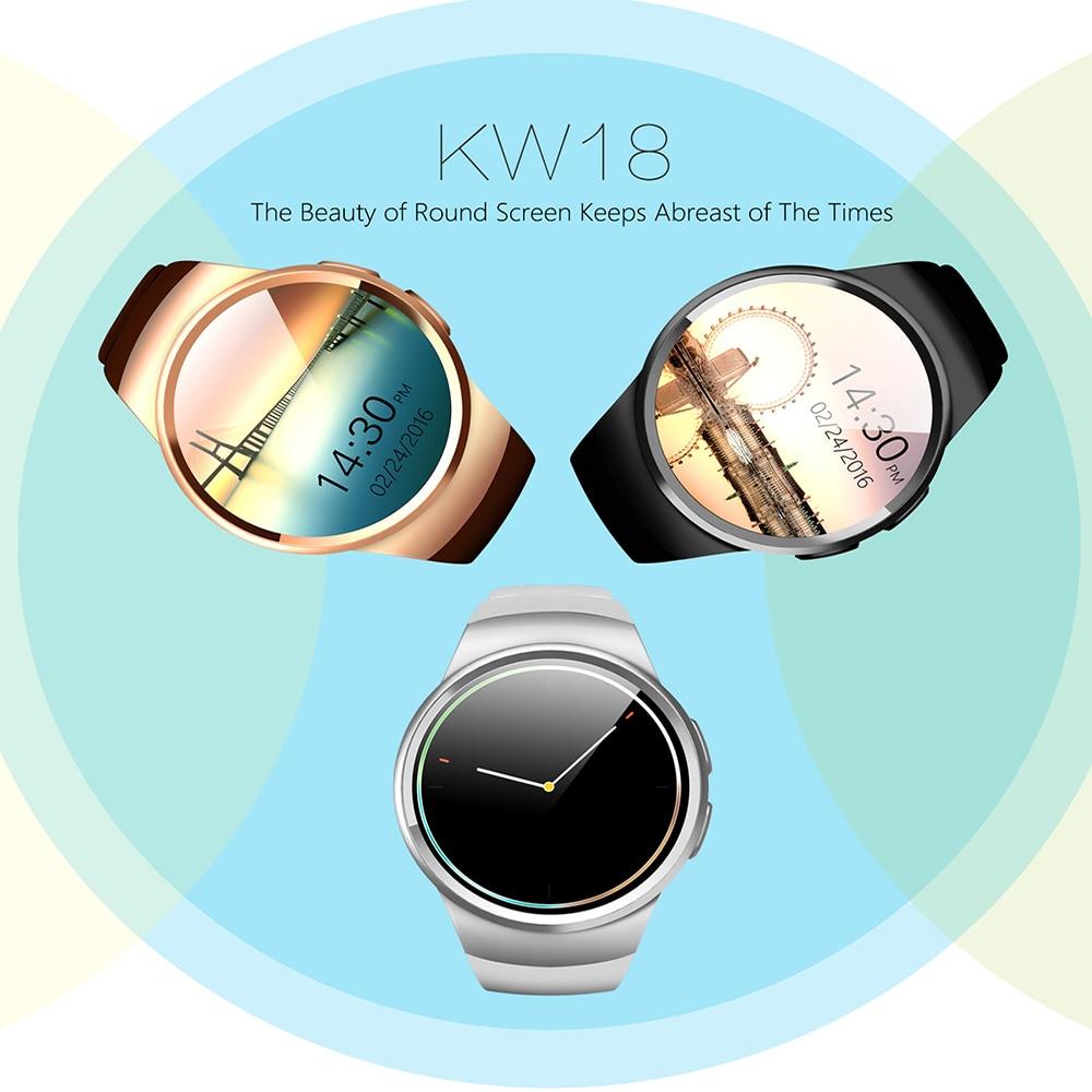 KW18 Bluetooth montre intelligente téléphone prise en charge plein écran SIM TF Smartwatch fréquence cardiaque pour IOS iPhone Android Samsung Xiaomi PK KW88 - 6