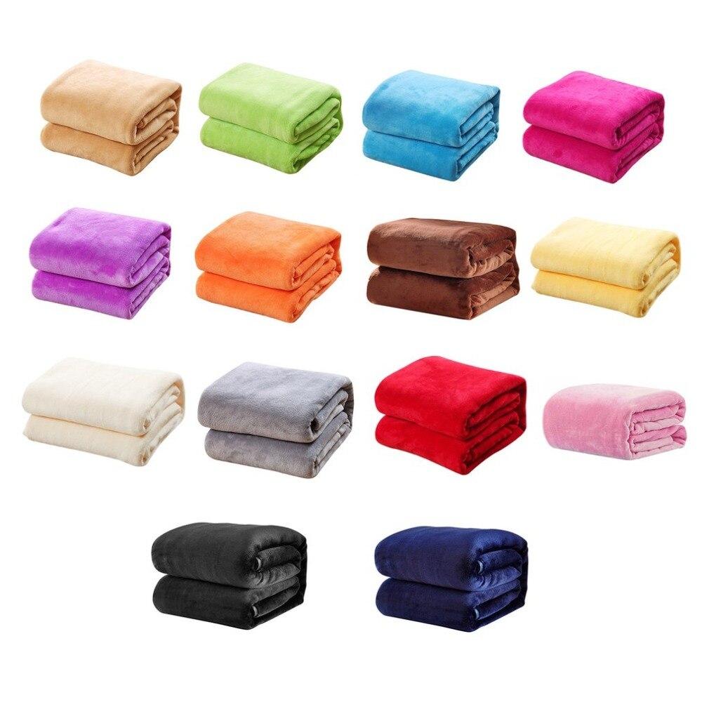 Зимние Утепленная одежда фланель Одеяло одноцветное Цвет Одеяло для самолета дома диван Постельное белье для офиса Авто Одеяло домашний те...