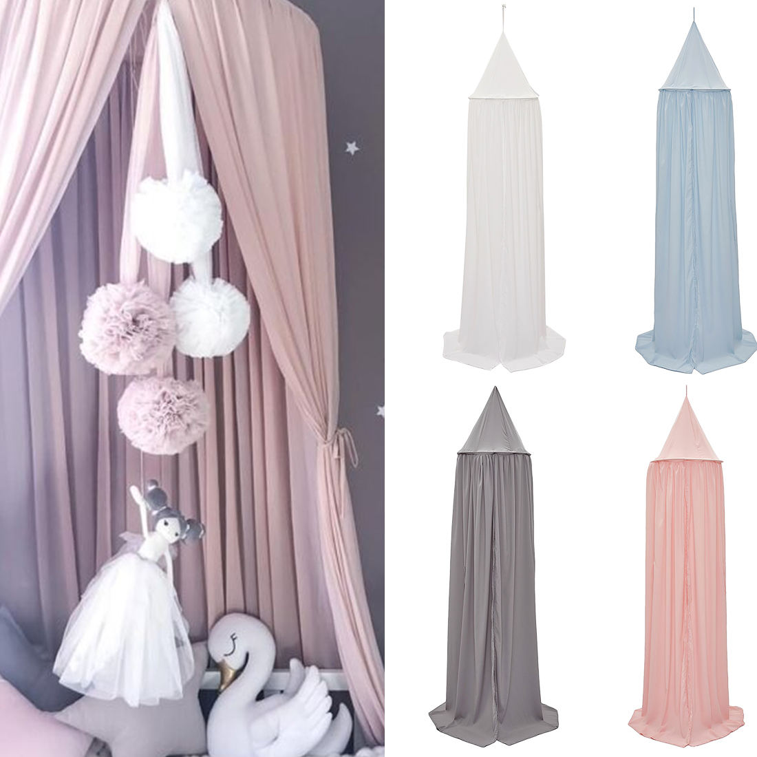 Pure White Feather Woven Dream Catcher Circular Net With: Pure Color Hanging Cotton Kids Baby Bedding Dome Bed