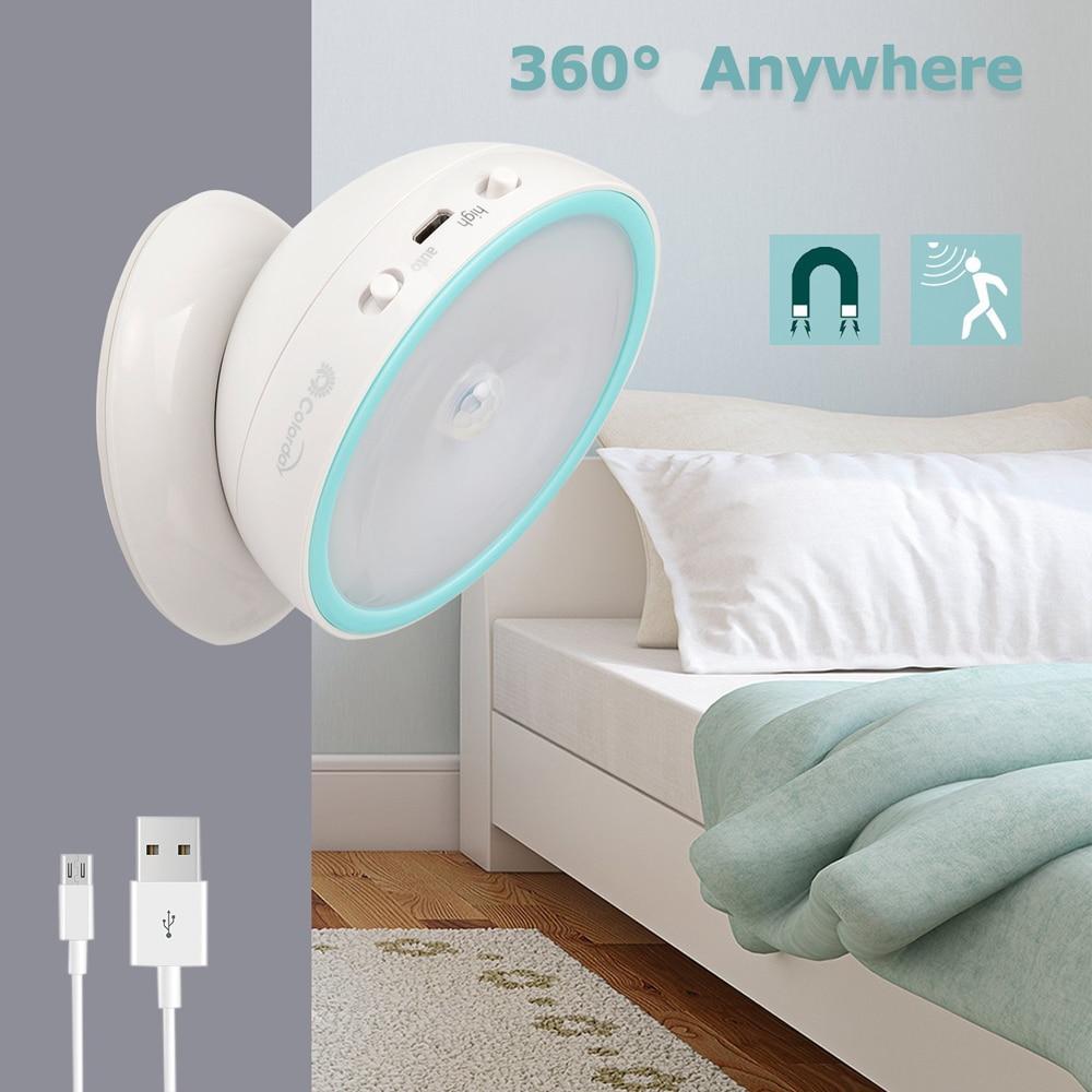 Ricaricabile USB LED del Sensore di Movimento Luce di Notte 360 Rotante Wc WC Cucina Armadio Camera Da Letto Della Parete di Lettura Portatile Lampada Da Tavolo