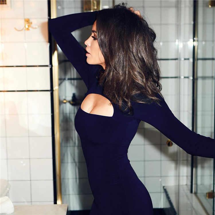 2019 שמלות לנשים סקסי חלול החוצה AliExpress שחור מוצק צבע פתוח סקסי גולף מיני שמלת Vestidos BLKQQ1360