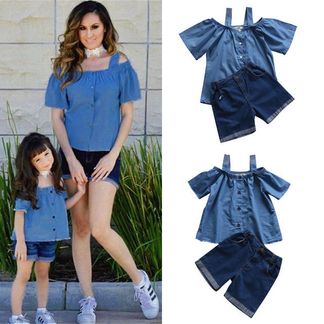 e05921b0773f9 Women Baby Girls Kids Clothing Set Children Mother Clothes Blue Outfits Off  Shoulder Tops Denim Shorts Pants Summer Costume 2pcs