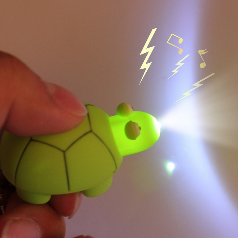 Free shipping Cartoon Little Turtle Shaped Led Torch Light Keychain With Sound/Voice Kid Toy Free shipping