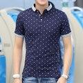 Мужская футболка нагрудные лето половина рукава хлопок поло воротник в мужская с коротким рукавом прилив корейской выращивания мужской тис