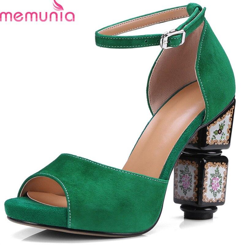 MEMUNIA 2018 new arrive women pumps suede leather summer shoes elegant peep toe simple buckle dress shoes 10cm high heel shoes цена