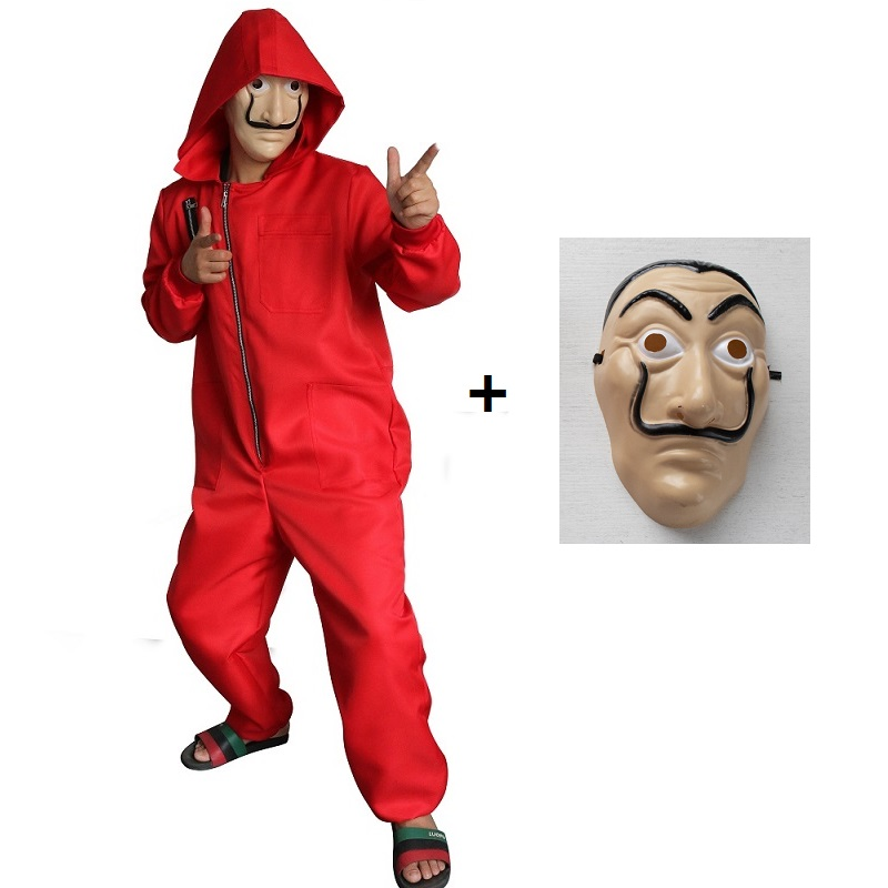 Latest Collection Of Halloween Dali Banknote House Cosplay Clown Suit Mask Onesies Masquerade Performance Costume Red Costumes & Accessories Men's Costumes