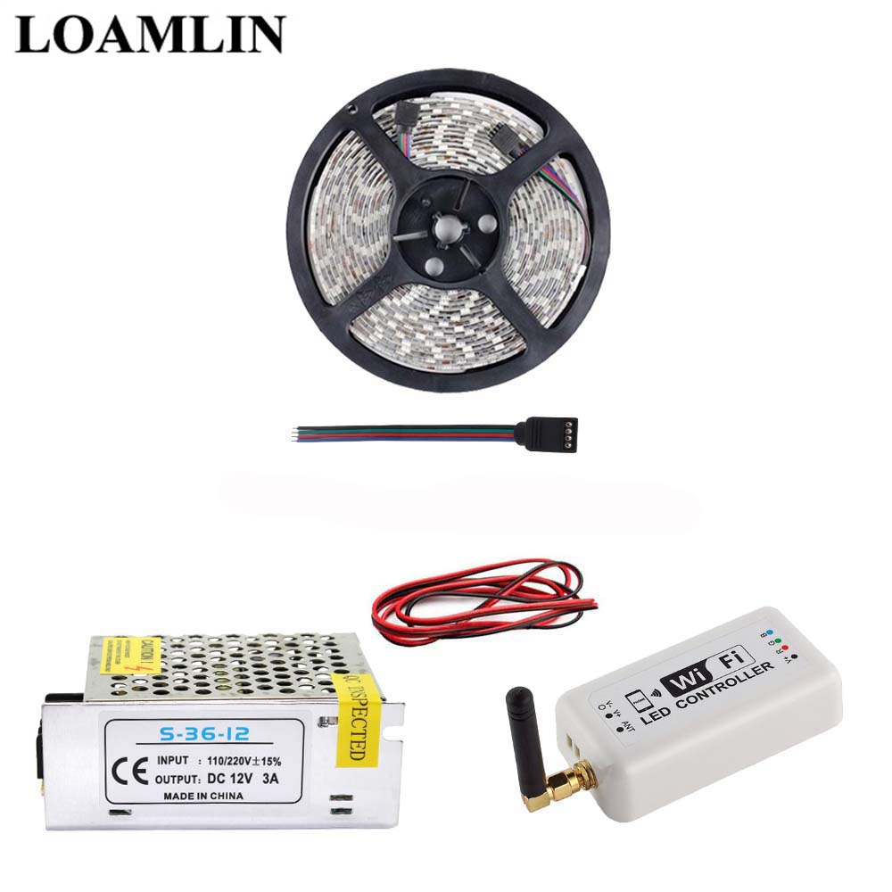 5M 10M 15M 20M SMD2835/3528 RGB Led Flexible Strip Light With WIFI Led Controller DC12V Power Adapter Kit