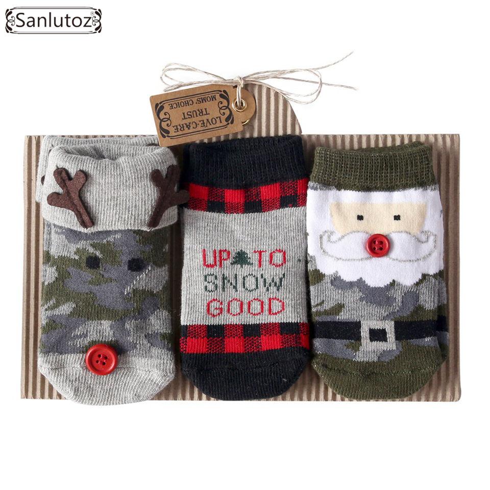 Sanlutoz Infant Socks For Baby Christams Holiday Birthday Newborn Baby Socks Gift 0-12 Months Santa Reindeer