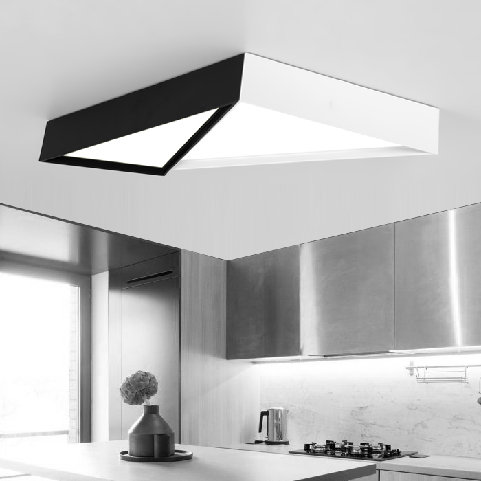 Modern Simple Led Acrylic ceiling lights Geometric triangle White/Black Color for living room bedroom home Light Fixture modern 3 color adjustable triangle