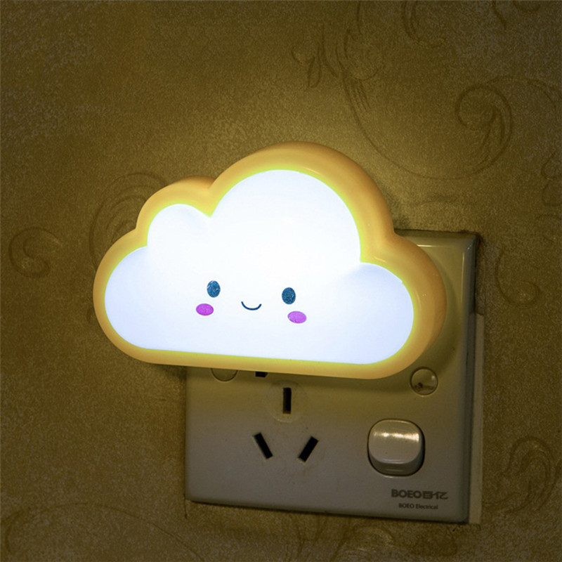 AC220V 3D Cloud LED Night Light Baby Feeding Lighting Wall Socket Lamp For  Bedroom Living Room Evening Ligting