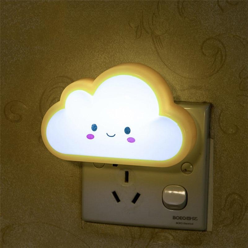 AC220V 3D Cloud LED Night Light Baby Feeding Lighting Wall Socket Lamp For  Bedroom Living Room Evening Ligting