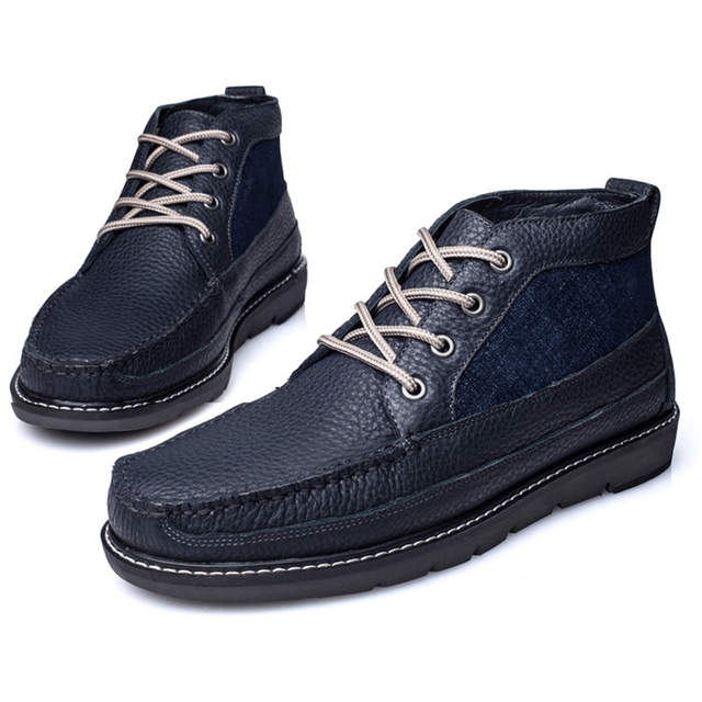 d10dd365ca580 Online Shop Winter Boots EG-59 Navy Blue Lace-up HighBoots Vintage Loafers  Mens Casual Shoes Genuine Leather Handmade Comfortable Breathable |  Aliexpress ...