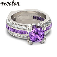 Vecalon Fashion Couple Engagement Ring Purple 5A Zircon Cz 925 Sterling Silver Birthstone Wedding Band Ring
