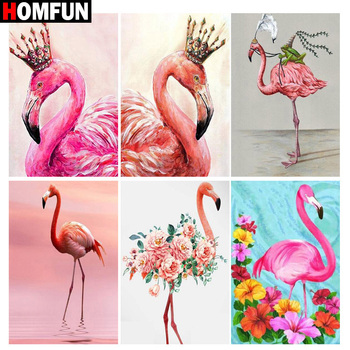 HOMFUN Full Square/Round Drill 5D DIY Diamond Painting Animal flamingo 3D Embroidery Cross Stitch Home Decor Gift