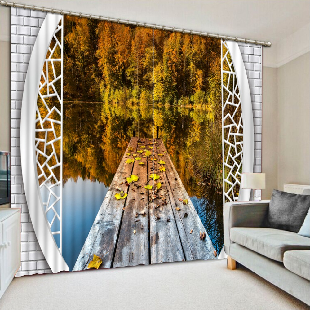 European style auturn scenery 3D Window Curtains For Bedding room Factory direct sale