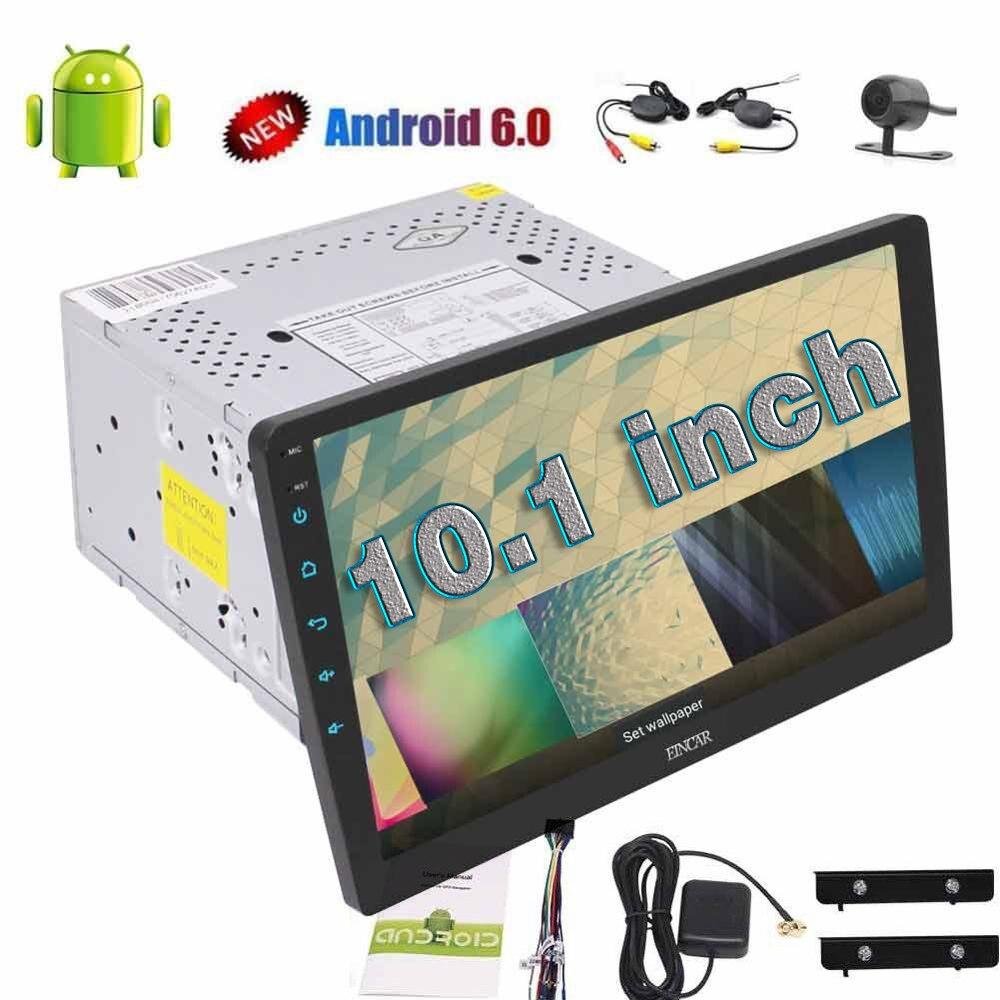 Беспроводной камера + 4 ядра 10.1 ''Android 6.0 двойной din стерео аудио головного устройства 2 din Автомагнитолы нет dvd-плеер поддержка FM Bluetooth
