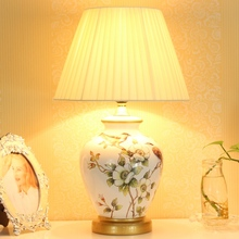 High Quality Pastoral Handmade Chinese Ceramic Fabric Led E27 Table Lamp For Bedroom Study Living Room Porcelain Lights 1834
