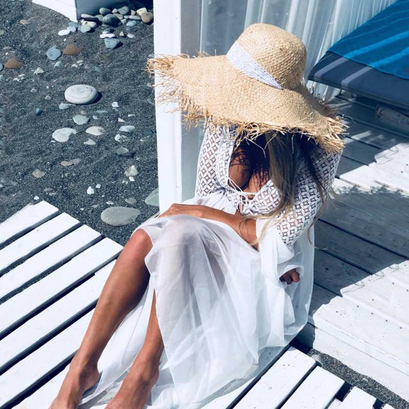 Bohoartist 女性のセクシーなドレスフレアスリーブ V ネック白パーティー中空自由奔放に生きるレースマキシドレスホリデーシックな夏の女性ドレス